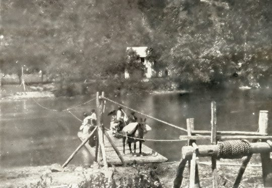 Phillip Hoodenpile's ferry at Warm Springs may have looked like Alexander's ferry near Leicester, pictured here in an image held by the N.C. Collection at Pack Memorial Library.