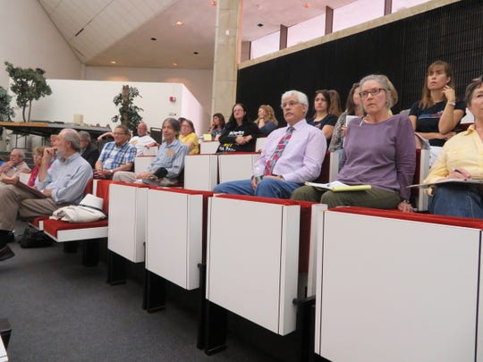 More than 40 speakers addressed the New York State Electric & Gas Corp. rate increase proposal during a four-hour public hearing at the Binghamton City Council chambers on Aug. 15, 2019/