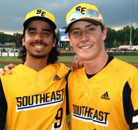 Apollos Horrell, left, and Logan Keith were the hitting stars in the sixth inning of Thursday's wild 13-9 win against the host Taylor, Mich., team.