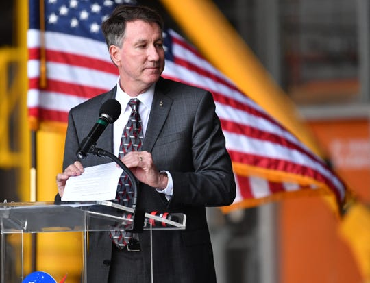 Northrop Grumman held its red-ribbon cutting ceremony for its Omega rocket on Aug. 16, 2019, at NASA's Kennedy Space Center's Vehicle Assembly Building. The rocket will be assembled and tested at the VAB's High Bay 2, making Grumman the first commercial tenant to use the VAB, and will also use the Mobile Launcher Platform 3, the same one used for the Apollo 11 mission. Kent Rominger, former astronaut and now V.P. Business Development, Northrop Grumman Flight Systems, was one of three speakers.