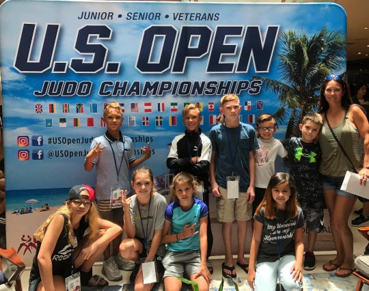 Suncoast Warriors U.S. Open competitors, top from left: Nina Rodriguez (5th place), Jaylee Mathis (7th place), Aubrey Genereux (Gold medal), Ginger Weiner (bronze medal). Bottom: Cristian Fernandez (5th place,) Julien Fernandez (bronze medal) and Patrick Moeller (7th place)