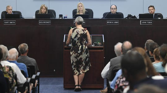 Mims resident Claudia Thomas addresses the Brevard County Commission during a recent meeting.