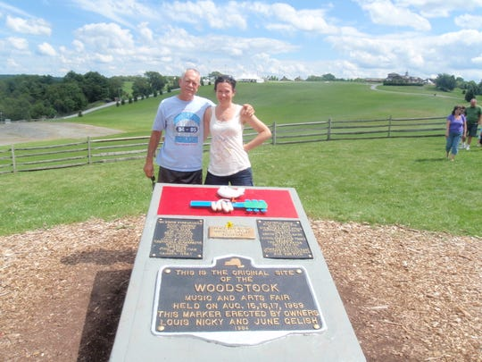 Retired Rockledge High physics teacher Skip Arrich is pictured with his daughter, Sheryl, on a trip to the site of the 1969 Woodstock festival.