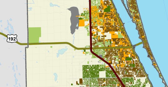 The dark green areas on this Florida Department of Health map are parcels with known septic tanks. The lighter green areas are parcels suspected to have septic tanks. The dark brown areas are parcels known to be hooked to municipal sewer service, and the orange areas are likely to be hooked to sewer.