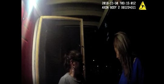 A screenshot of a Corpus Christi Police Department officer's body camera footage shows former officer Norma DeLeon speaking to a woman about the location of a man.