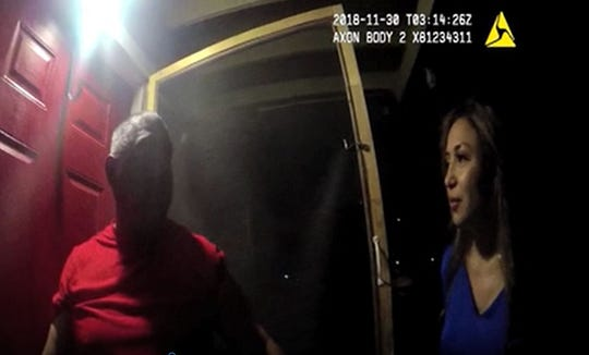 A screenshot from a Corpus Christi Police Department officer's body camera shows former officer Norma DeLeon speaking to a man about the location of a man.