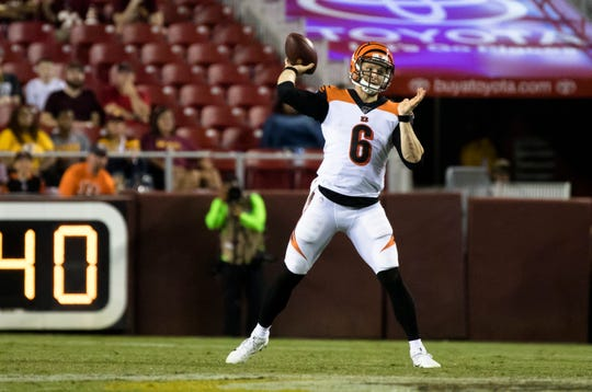 Cincinnati Bengals quarterback Jeff Driskel (6) throws a pass during the second half of the preseason NFL football game between Cincinnati Bengals and Washington  on Thursday, Aug. 15, 2019, at FedEx Field in Landover, Md.
