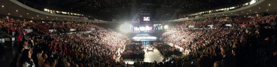 2012: A panoramic view of U.S. Bank Arena at the start of the Closing Ceremony of the 2012 World Choir Games.