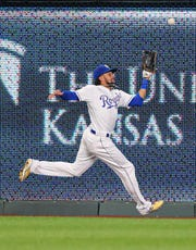 Jul 29, 2019; Kansas City, MO, USA; Kansas City Royals center fielder Billy HamiltonÊ(6) is unable to make the catch against the Toronto Blue Jays during the eighth inning at Kauffman Stadium.