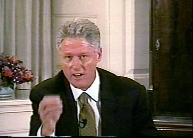In this image made from from video, President Clinton responds to a question during his videotaped testimony Monday Aug. 17, 1998, at the White House.