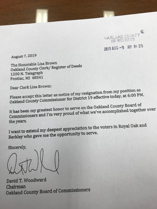 A photo of a copy of the resignation letter submitted by Dave Woodward to the Oakland County clerk last week. The letter is being used by the GOP in its legal argument.