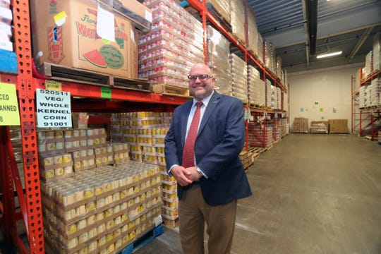 Gerry Brisson the head of Gleaners in one of the warehouses used to store food Thursday, August 15, 2019 in Detroit.