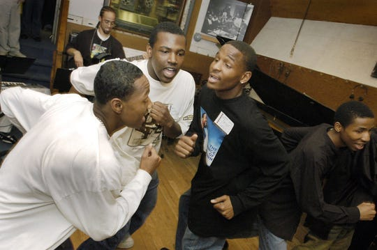 """Members of the original Mosaic Youth Theatre cast of """"Now That I Can Dance"""" rehearse at the Wright Museum in Detroit in April 2005."""