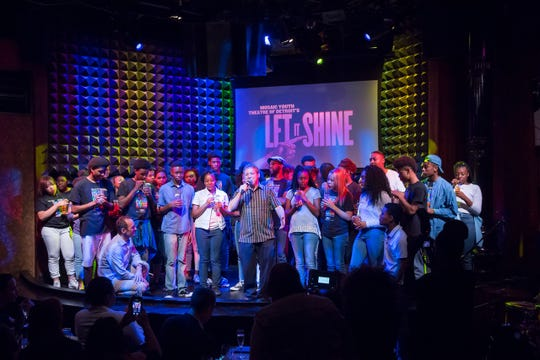 Broadway producer Jeffrey Seller, kneeling at left, and Rick Sperling, center, with Mosaic Youth Theatre performers at Joe's Pub in New York City in 2017. Seller, an Oak Park native, invited Mosaic to perform there to celebrate its 25th anniversary.