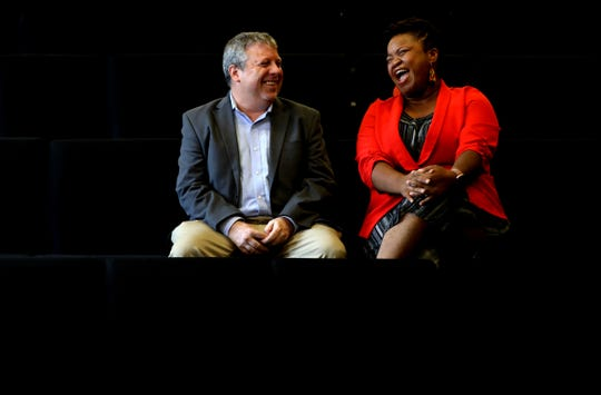 """Founder and outgoing artistic director of the Mosaic Youth Theatre of Detroit Rick Sperling, left, with the incoming artistic director. DeLashea Strawder.  """"I see myself as a theater person with very good musical taste,"""" Sperling says. """"DeLashea is a musical person with very good theatrical taste. That's probably the biggest difference."""""""