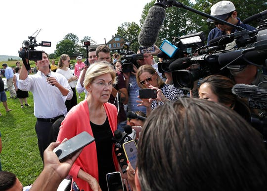 Democratic presidential candidate Sen. Elizabeth Warren, D-Mass., speaks to media at a campaign event, Wednesday, Aug. 14, 2019, in Franconia, N.H. A new Pew Research Center survey suggests that other than Joe Biden, Warren is best positioned to be that candidate.