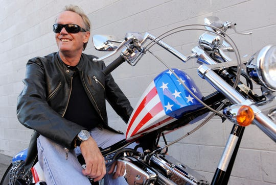 "Peter Fonda, on a Harley-Davidson motorcycle in 2009. Fonda, the son of a Hollywood legend who became a movie star in his own right both writing and starring in counterculture classics like ""Easy Rider,"" has died."