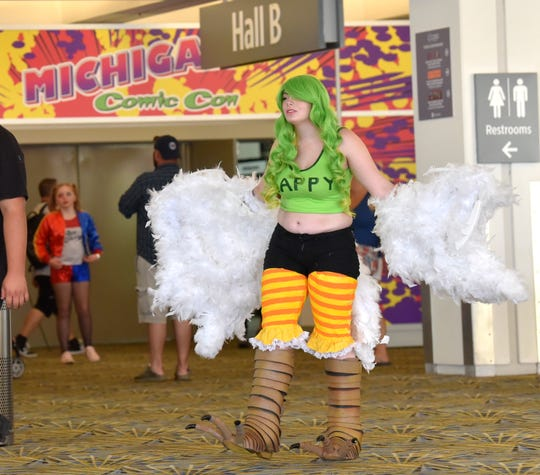 Kayden Bates of Ecorse portrays Monet, from the anime series 'One Piece.' Monet is a half-human, half-bird from Greek mythology.