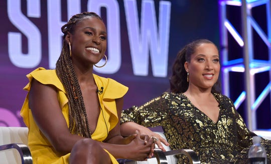 """In this Wednesday, July 24, 2019 file photo, executive producer Issa Rae, left, and Robin Thede participate in HBO's """"A Black Lady Sketch Show"""" panel at the Television Critics Association Summer Press Tour in Beverly Hills, Calif. The six-episode series offers sketches written and performed by an all-black female cast."""