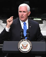 Vice President Mike Pence speaks on the United States-Mexico-Canada Agreement at Motor City Solutions in Taylor, Michigan in this April 24, 2019, file photo. Pence will address the Detroit Economic Club Monday at the MotorCity Casino Hotel.