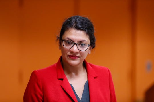 U.S. Rep. Rashida Tlaib, D-Mich. speaks to constituents in Wixom, Thursday, Aug. 15, 2019.