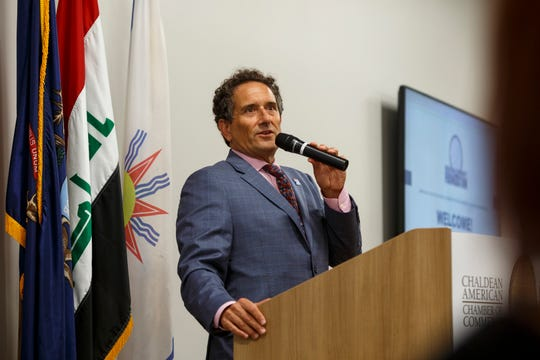 Congressman Andy Levin speaks community members at vigil to remember Jimmy Al-Daoud on Thursday, Aug. 15, 2019 at the Chaldean Community Foundation in Sterlings Heights. Al-Daoud, of Detroit, was found dead in Iraq earlier this month after he was deported.