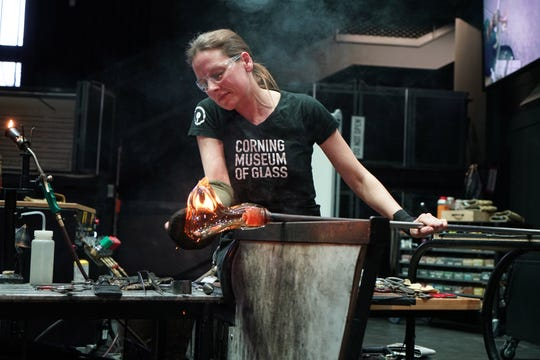 Helen Tegeler, a member of the Hot Glass team at the Corning Museum of Glass, will demonstrate her talents as an artist Thursday evening.