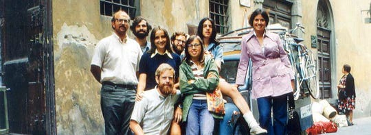 Rick and Paola Malpezzi Price pose with the first bicycle tour group they took to Italy in 1972.