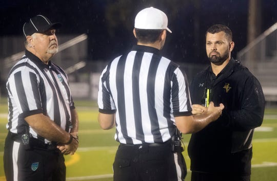 The FHSAA provided officials from outside Lee County for Thursday's preseason kickoff classic football game between Bishop Verot and Lely at Bishop Verot in Fort Myers.