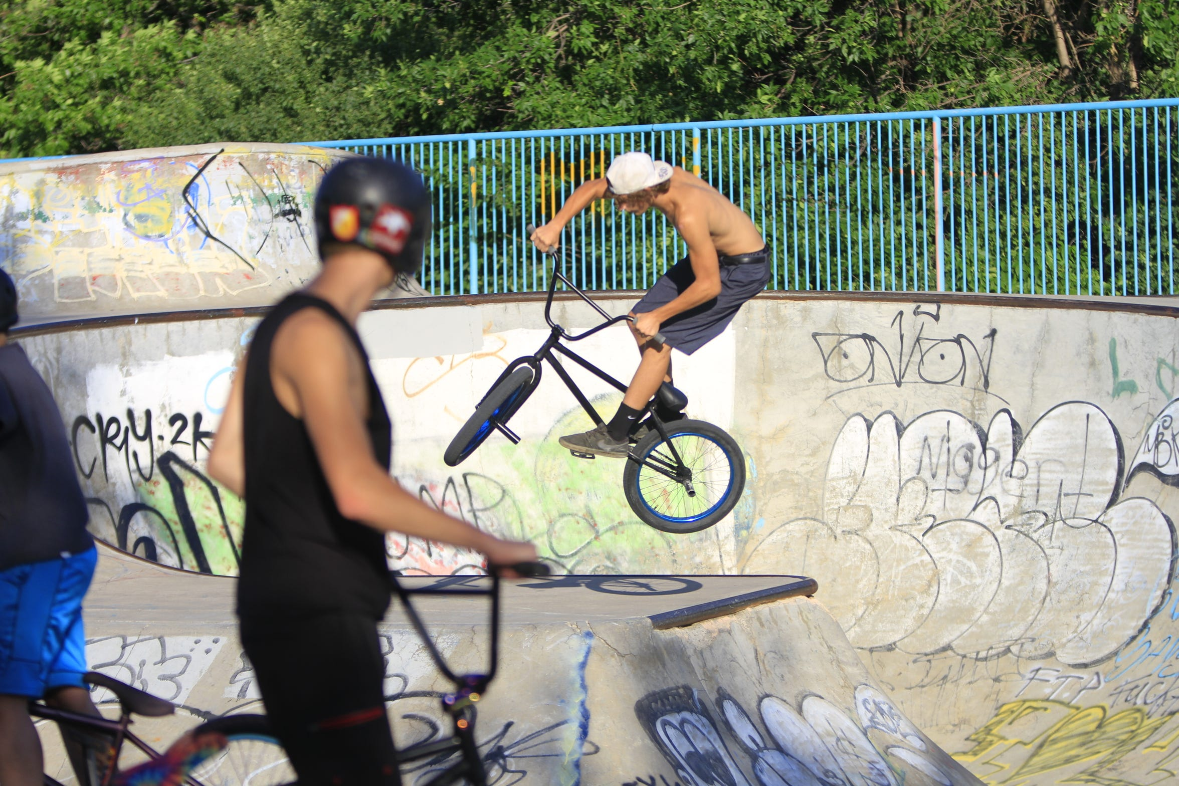 Javaun Srb at riding at Riverside Railyard Skate Park on Thursday evening