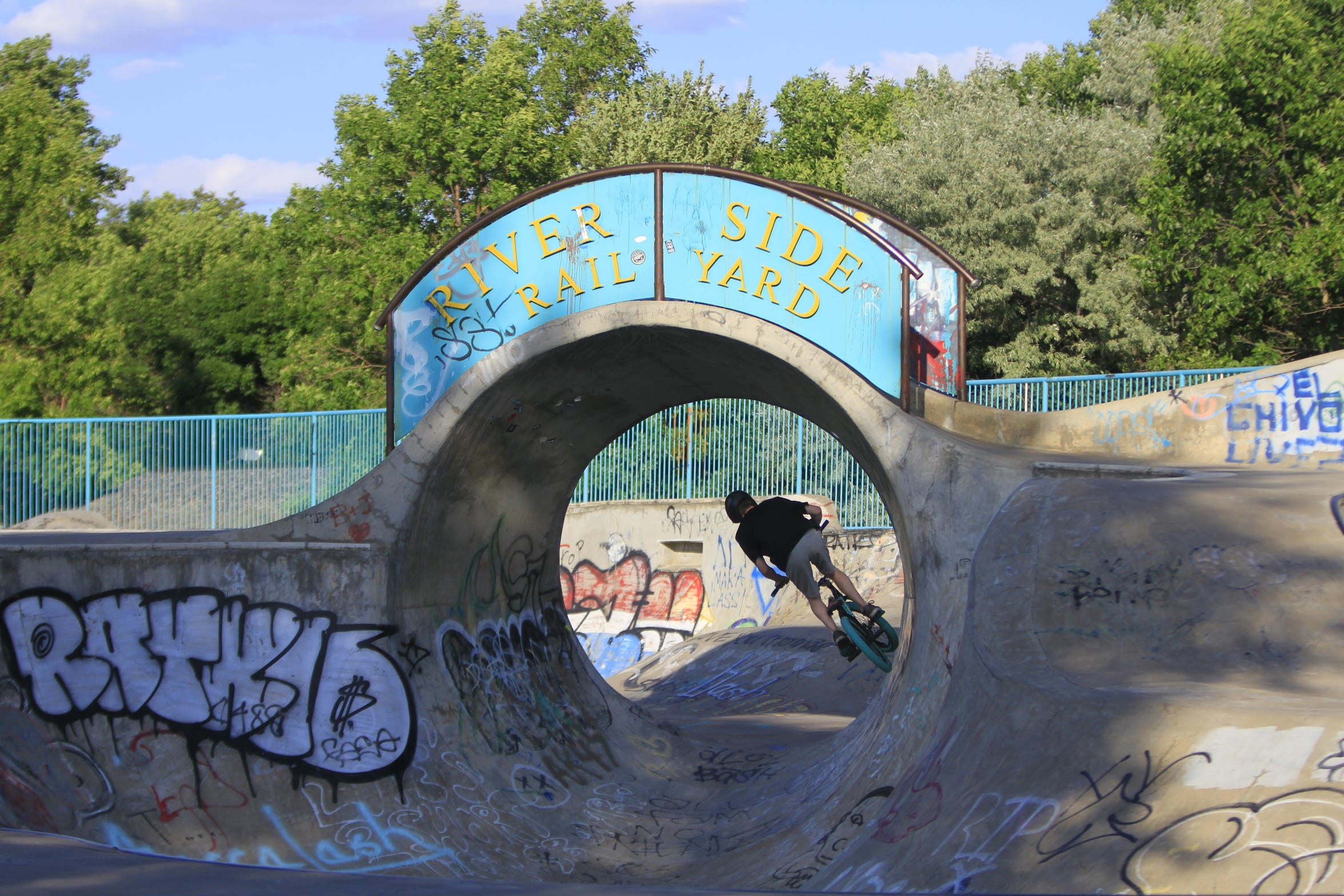 Jackie Swartz at riding at Riverside Railyard Skate Park on Thursday evening