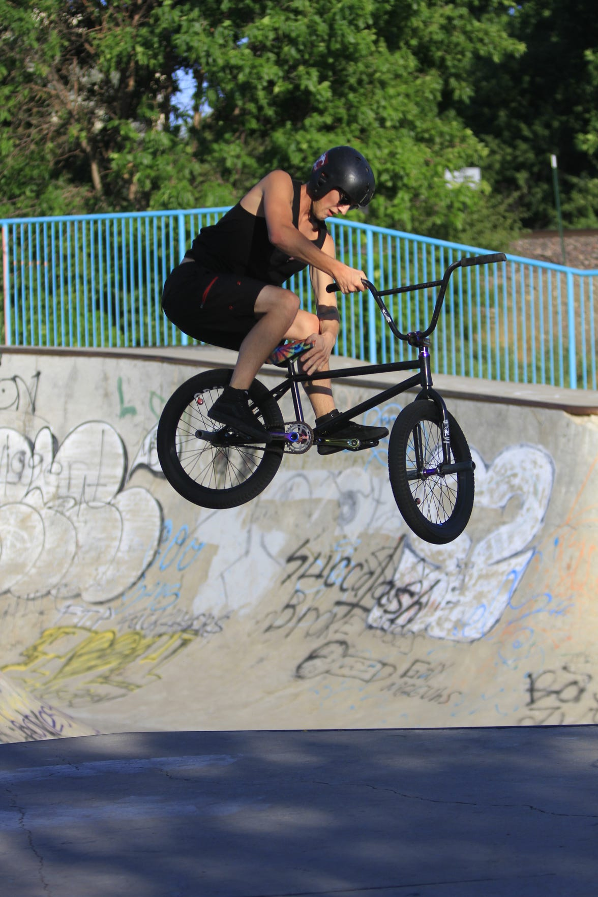 Edward Spicer at riding at Riverside Railyard Skate Park on Thursday evening