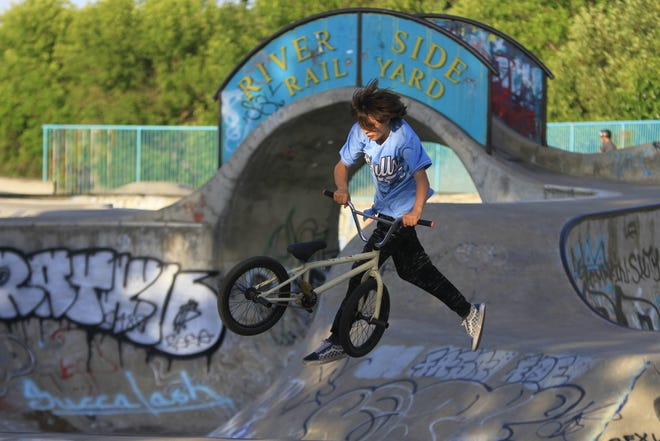 Kaden Laplant at riding at Riverside Railyard Skate Park on Thursday evening