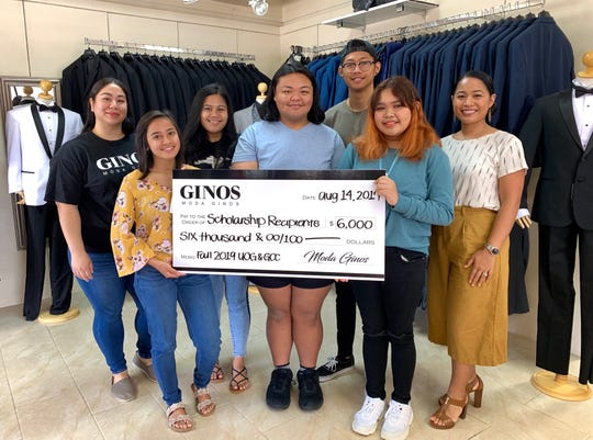Moda Gino's recently awarded their recipients of the Partners in Education Scholarship with the first half of their award for Fall 2019.  Each student received $500 for Fall 2019 semester at the University of Guam or Guam Community College. Students will be awarded another $500 for the Spring 2020 semester, for a total of $1,000 for each student's first academic year.  Pictured from left: Adriana Uribe, Moda Gino's; Angel Ann Orlino, Okkodo High School; Sydney Espinueva, Simon Sanchez High School; Keanu Ray Masga, Tiyan High School; Jacky Chen, John F. Kennedy High School;  Angelica Mae Losing, John F. Kennedy High School; and Cassandra Sachdev, Moda Gino's.  Not pictured: Jgeth Bautista, George Washington High School; Trisha Canlas, George Washington High School; Jacquelyn Cabusi, Okkodo High School; Crystallan Marie Bunoan, Simon Sanchez High School; Aurienne Cruz, Southern High School; Amista Mariana Lujan, Southern High School and  Rhozzenda Valdez, Tiyan High School.