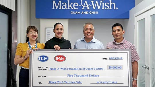 Sister companies IT&E and IP&E Holdings Inc. presented a donation to the Make-A-Wish Foundation of Guam and the CNMI in support of the annual fundraising event, the Black Tie and Tennies Gala on Aug. 17. Pictured from left: Rubyjane Buhain-Redila, brand and public relations manager at IT&E; Camille Denight, marketing manager at IP&E Holdings, LLC; Eric Tydingco, president and CEO of Make-A-Wish Foundation of Guam and CNMI and Brian Bamba, managing director of IP&E Holdings, LLC.
