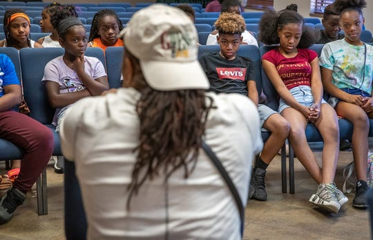 """""""A lot of the time we want the fast money, the fast return but how often does that happen?"""" said Big Trajik, as he speaks to kids at New Life Worship Center about his career on Friday, July 11, 2019. """"I like to preach longevity to them."""""""