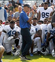Former Indianapolis Colts head coach Tony Dungy talks to the current Colts players following their joint practice against the Cleveland Browns at Grand Park in Westfield on Thursday, August 15, 2019.