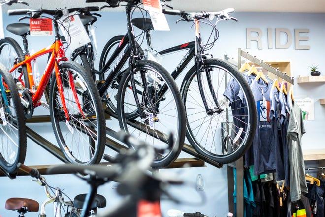 Racks of Trek bicycles are displayed, Thursday, Aug. 15, 2019, at World of Bikes along Gilbert Street in Iowa City, Iowa.