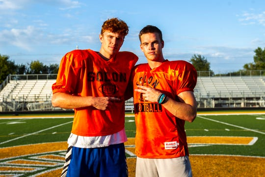 Solon wide receivers A.J. Coons, left, and Jace Andregg pose for a photo after a varsity football practice, Thursday, Aug. 15, 2019, at Spartan Stadium in Solon, Iowa.