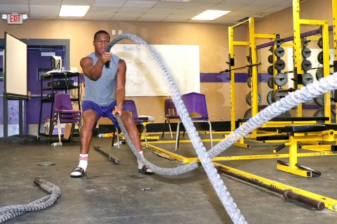St. Martinviille running back Bailey Mitchell participates in summer workouts.