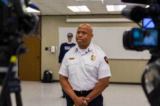 Lafayette Police Department Deputy Chief Reginald Thomas speaks with media regarding the Bola Wrap 100, a hand-held remote restraint device that discharges an eight foot bola style Kevlar tether to entangle an individual at a range of 10 to 25 feet. Thursday, Aug. 15, 2019.