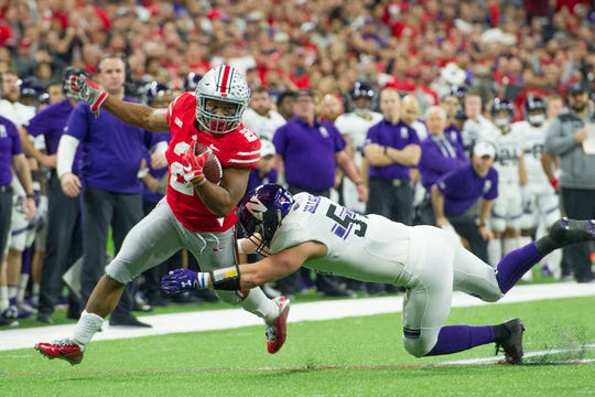 J.K. Dobbins went over 1,000 rushing yards for the season in the 2018 Big Ten Championship Game win over Northwestern, making him the first OSU player to top 1,000 in his freshman and sophomore seasons.