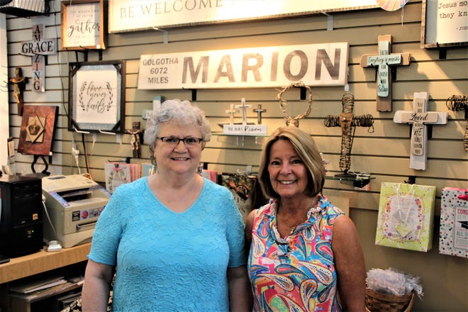 Hope Crossing Christian Books & Gifts is a labor of love for owner Jeanie Green, left, and Dottie McGinty. The pair of friends use the shop at Charleston Place  on West Center Street in downtown Marion to minister to Marion County residents.