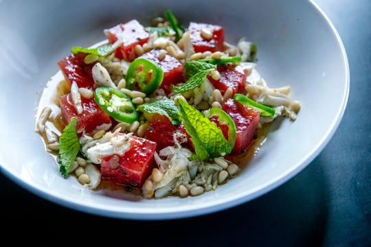 August 14, 2019 - Chef Kelly English made this watermelon and crab salad with jalapeno, mint, pine nuts, and burnt butter at Iris Restaurant.