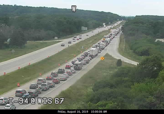 Backed up traffic on Interstate 94 near Delafield on Aug. 16, 2019