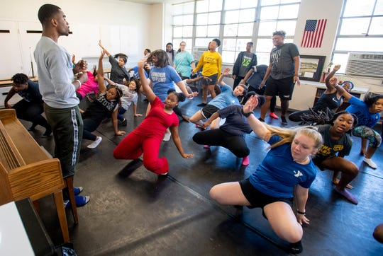 Musical Theatre class is held at Booker T. Washington Magnet High School in Montgomery, Ala., on Friday August 16, 2019. BTW's building burned a year ago and the school is housed in the old Hayneville Road Elementary School building in Montgomery.