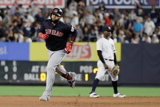 Cleveland Indians' Carlos Santana runs the bases after hitting a two-run home run during the fourth inning of the team's baseball game against the New York Yankees on Thursday, Aug. 15, 2019, in New York. (AP Photo/Frank Franklin II)