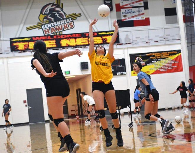 The Centennial High School varsity volleyball team went through their drills in preparation for the 2019 season.