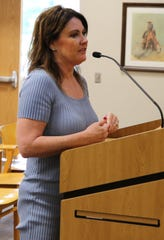 Wendy Austin, director of finance and investments for the City of Carlsbad, discusses the 2019-2020 fiscal year budget Aug. 13 before the Carlsbad City Council.