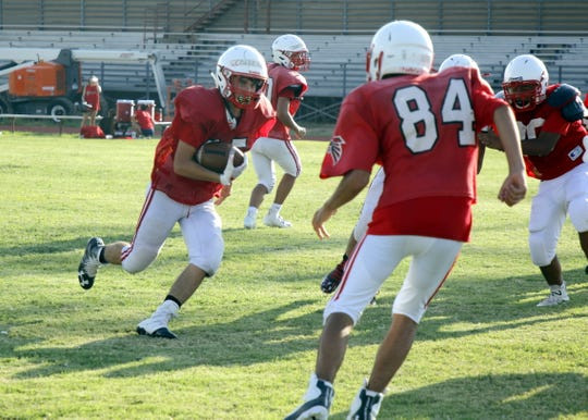 Loving's Johnathan Calderon during the Aug. 14 practice. Loving opens its season Aug. 24 hosting the Carlsbad JV team.